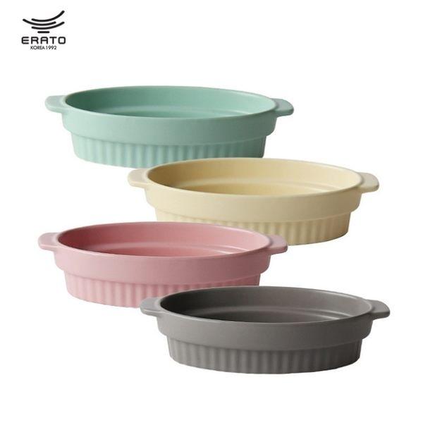 韓國ERATO北歐條紋風雙耳陶瓷烤盤北歐芝士焗飯盤西餐圓形菜盤子家用餐具深湯盤子