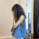 Hoshi 背心吊帶女夏外穿牛仔藍方領設計感小眾韓版時尚無袖上衣 錢夫人