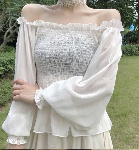 EASON SHOP(GU6329)氣質一字領皺褶木耳邊平口露肩燈籠袖長袖雪紡衫白襯衫女上衣服韓版
