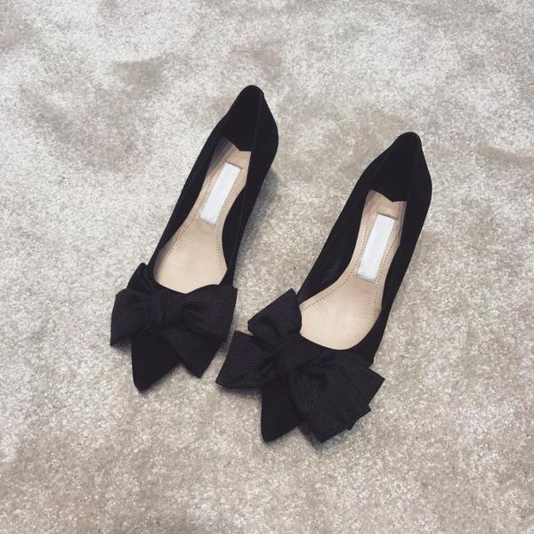 高跟鞋 網紅高跟鞋春季好康新品女鞋細跟百搭中跟尖頭貓跟蝴蝶結單鞋超夯