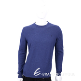 TRUSSARDI 藍色刺繡LOGO羊毛長袖上衣 1540371-23