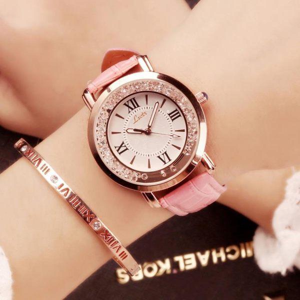 現貨 chic風女士手錶女學生正韓簡約潮流休閒大氣水鉆防水手錶網紅同款六色可選