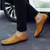 懶人鞋 新款春夏季英倫商務鞋真皮鞋懶人軟底透氣鞋男士休閒鞋鞋 【快速出貨】