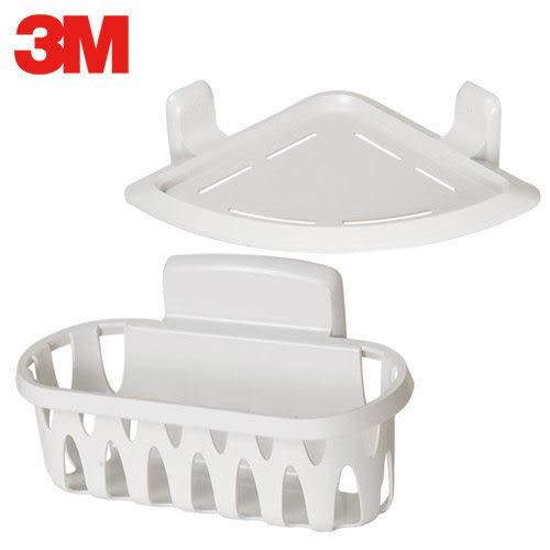 A0713《3M》無痕衛浴收納-三角置物架+置物籃