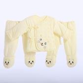 限定款鋪棉套裝 嬰兒加厚寶寶套裝棉質棉襖新生兒冬裝開檔初生兒棉衣連腳褲三件組