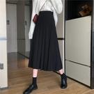 長裙 春秋2021新款氣質黑色百褶半身長裙女中長款高腰a字顯瘦包臀裙子
