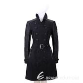 BURBERRY 皮革拼接排釦風衣外套(黑色) 1530163-01