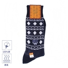 MCM菱格紋圖騰刺繡LOGO休閒襪(深藍色)980203