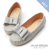 豆豆鞋 D+AF 俏皮可愛.MIT大蝴蝶結莫卡辛豆豆鞋*灰