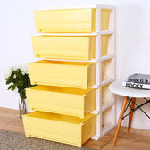 【HOUSE】大面寬-夏日超大五層玩具衣物收納櫃(多色可選)黃色