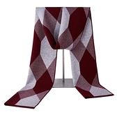 羊毛圍巾-幾何圖形百搭針織男披肩3色73wh6【時尚巴黎】