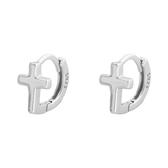 925純銀 小十字架 耳環耳圈扣-銀 防抗過敏