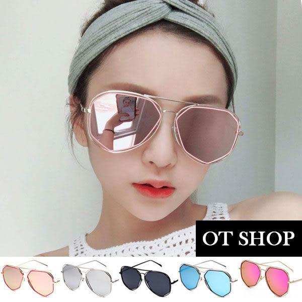OT SHOP太陽眼鏡‧中性情侶多邊形設計金屬框雷朋抗UV400墨鏡‧粉框粉反光/‧金框紫反光現貨‧N44