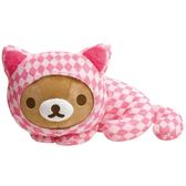 【拉拉熊妙妙貓抱枕】絨毛玩偶 懶熊 愛麗絲 Rilakkuma 日本正版 該該貝比日本精品 ☆