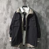 外套 日系復古牌寬鬆工裝外套男生假兩件格子拼接夾克男上衣 小天後