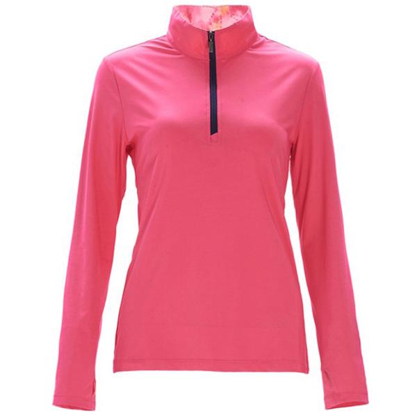 【wildland 荒野】女 彈性針織輕薄拉鍊領長袖上衣『蜜桃紅』0A71619 T恤 上衣 女版 長袖 排汗 休閒