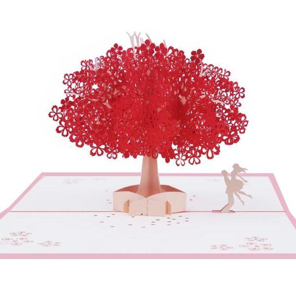 感恩節禮品 品妮3D立體櫻花紙雕創意卡片情人教師節感恩生日七夕禮物diy賀卡 珍妮寶貝