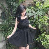 女裝韓版中長款高腰吊帶裙一字領洋裝
