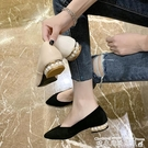 低跟鞋溫柔淑女珍珠單鞋女2021新款春秋百搭簡約尖頭低跟淺口粗跟鞋子女  迷你屋 618狂歡