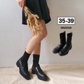 ★現貨★MIUSTAR學院風!高筒襪套拼接皮革皮鞋(共1色,35-39)【NG002220】