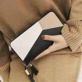 女長款錢包 撞色拼接拉鏈女學生手機包