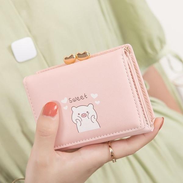 女士錢包皮夾 可愛小豬愛心夾子零錢包 學生韓版多卡位時尚錢夾 女士錢夾 女短款錢包 女生短夾
