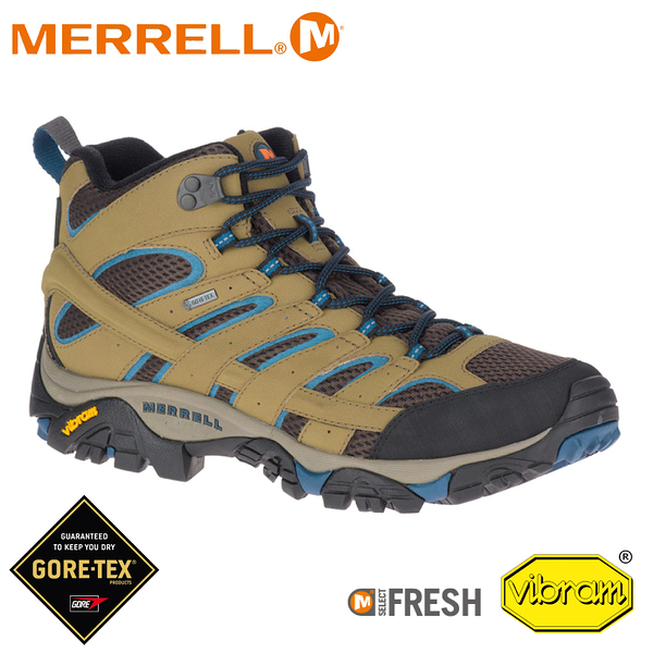 【MERRELL 美國 男 MOAB 2 MID GORE-TEX 戶外多功能登山鞋《卡其/霧藍》】034803/水陸兩棲/防水
