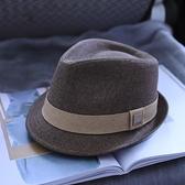 櫪野秋冬天帽子男韓版潮羊毛呢大碼男式帽子爵士帽英倫紳士禮帽女 艾瑞斯