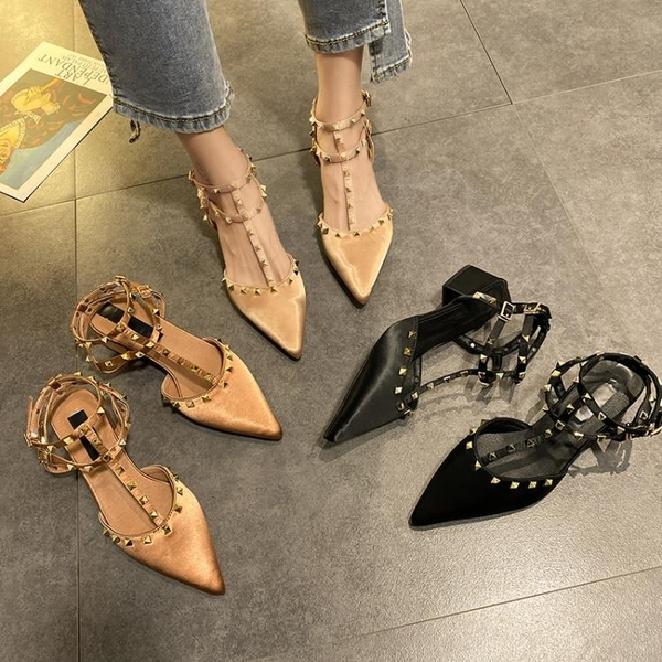 低跟鞋 包頭時裝涼鞋女仙女風2021年夏季新款網紅中粗跟一字帶羅馬高跟鞋