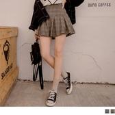 《CA1794-》學院英倫風~百褶格紋短褲裙 OB嚴選