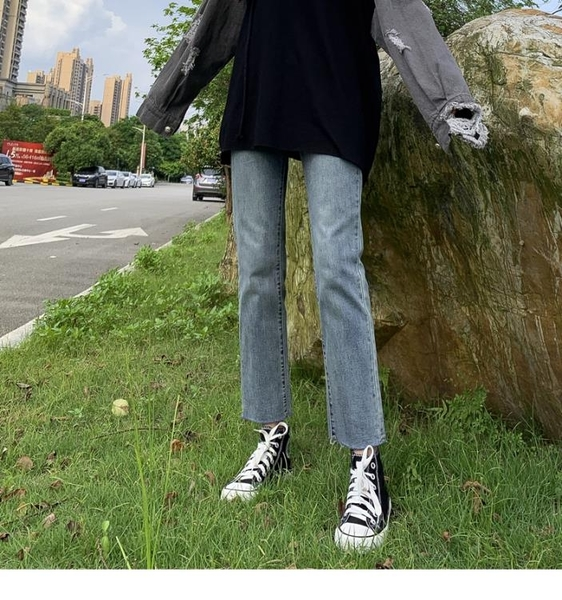 高腰牛仔褲女2019春秋新款秋裝百搭顯瘦寬鬆闊腿泫雅九分直筒褲子 滿天星