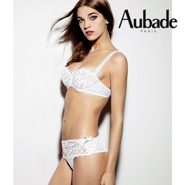 Aubade-巴伊亞有機棉M-L刺繡丁褲(白)BO