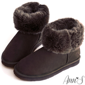 Ann'S可愛刺繡小雪花可反折素面全真皮雪靴-深咖