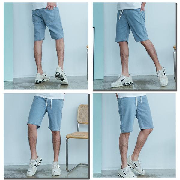 【OBIYUAN】素面 鬆緊抽繩 單寧褲 牛仔短褲 共2色【JN4169】