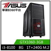 (八代 i3系列)華碩B360平台[飛輪英雄]i3四核GTX1060獨顯SSD電玩機