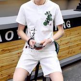 棉麻短袖亞麻運動套裝男夏季2018新款男青年中國風刺繡兩件套 DN8846【野之旅】
