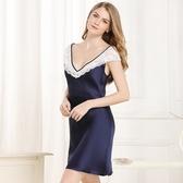 睡衣-真絲裙裝短袖輕奢優雅蕾絲花邊女居家服3色73nq60【時尚巴黎】