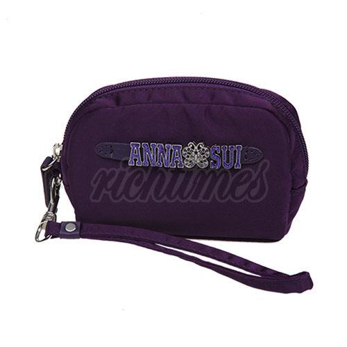 【裕代 ANNA SUI】彩鑽LOGO提帶化妝手拿包(紫)AS1C3601