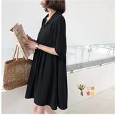 孕婦洋裝 夏裝洋裝潮媽時尚2020夏季新款黑色上衣洋氣職業顯瘦裙子 M-2XL
