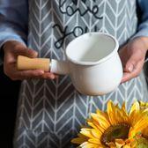 琺瑯搪瓷日式漏嘴單柄迷你奶鍋寶寶輔食鍋湯碗黃油鍋咖啡奶杯