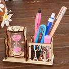 創意沙漏筆插組合木質工藝桌面擺件學生文具...