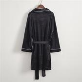 中長款絲絨睡袍冬季韓版時尚柔軟舒適加厚黑色情侶睡衣浴袍家居服