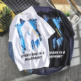 ins日系短袖男港風上衣夏裝寬鬆BF原宿風短袖T恤男街頭學生半袖衫