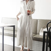棉麻連體褲韓風 西裝領打摺單釦綁帶亞麻連身褲 艾爾莎【TGK6688】