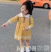 女童洋裝 女童裝針織洋裝中小童寶寶洋氣公主裙子學院風毛衣裙 快速出貨