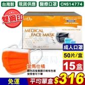 (雙鋼印) 宏瑋 醫療口罩(愛馬仕橘)-50入X15盒 (台灣製 CNS14774) 專品藥局【2016682】