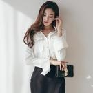 歐媛韓版 OL韓國襯衫 女士長袖衫秋季新款寬鬆職業雪紡襯衣氣質方領上衣百搭