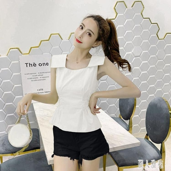 雪紡衫女2020夏季新款韓版潮設計感收腰顯瘦無袖露背心上衣娃娃小衫 LR22673『麗人雅苑』