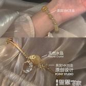 手鍊手工黃水晶星月手鍊女小眾設計珠子轉運復古韓版個性閨蜜首飾 新品