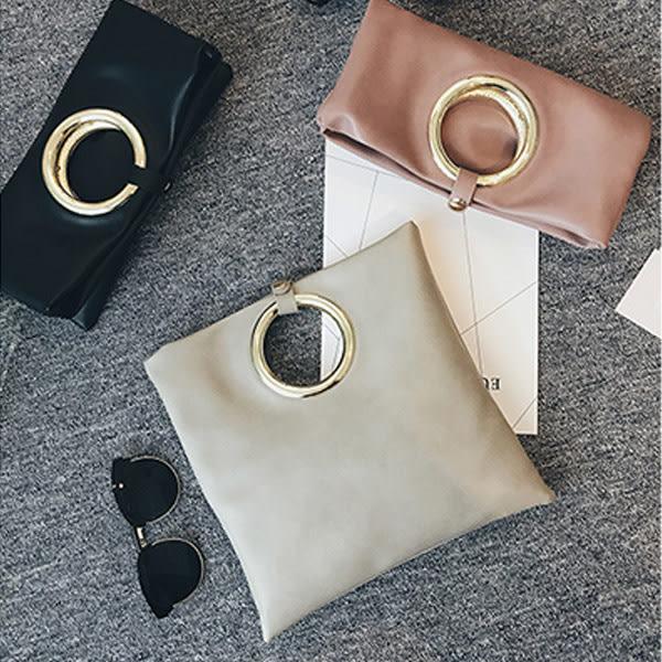 *UOU精品*韓國時尚款簡約素面圓環手提包信封包歐美時尚單肩斜背手拿側背包‧3色【T029】